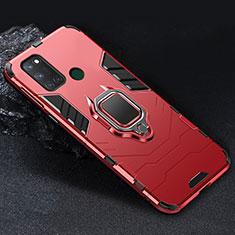 Realme C17用ハイブリットバンパーケース プラスチック アンド指輪 マグネット式 Realme レッド