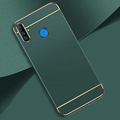Realme C3用ケース 高級感 手触り良い メタル兼プラスチック バンパー M01 Realme グリーン