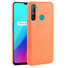 Realme C3用ケース 高級感 手触り良いレザー柄 Realme オレンジ