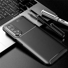 Realme Narzo 20 Pro用シリコンケース ソフトタッチラバー ツイル カバー S01 Realme ブラック