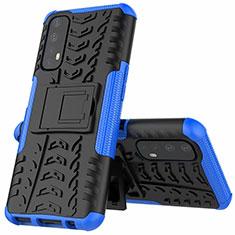 Realme Narzo 20 Pro用ハイブリットバンパーケース スタンド プラスチック 兼シリコーン カバー A01 Realme ネイビー