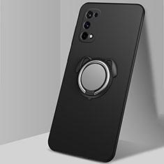 Realme Q2 Pro 5G用極薄ソフトケース シリコンケース 耐衝撃 全面保護 アンド指輪 マグネット式 バンパー A02 Realme ブラック