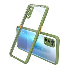 Realme Q2 Pro 5G用ハイブリットバンパーケース クリア透明 プラスチック 鏡面 カバー Realme グリーン