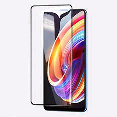 Realme Q2 Pro 5G用強化ガラス フル液晶保護フィルム Realme ブラック