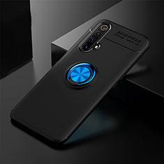 Realme X3用極薄ソフトケース シリコンケース 耐衝撃 全面保護 アンド指輪 マグネット式 バンパー Realme ネイビー・ブラック