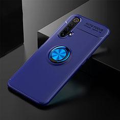 Realme X3用極薄ソフトケース シリコンケース 耐衝撃 全面保護 アンド指輪 マグネット式 バンパー Realme ネイビー