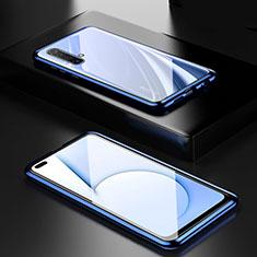 Realme X50 5G用ケース 高級感 手触り良い アルミメタル 製の金属製 360度 フルカバーバンパー 鏡面 カバー M01 Realme ネイビー