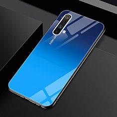 Realme X50 5G用ハイブリットバンパーケース プラスチック 鏡面 カバー Realme ネイビー