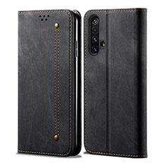 Realme X50 5G用手帳型 布 スタンド Realme ブラック