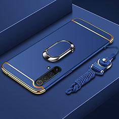 Realme X50 5G用ケース 高級感 手触り良い メタル兼プラスチック バンパー アンド指輪 亦 ひも Realme ネイビー