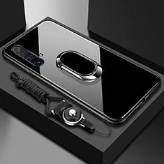 Realme X50 5G用ハイブリットバンパーケース プラスチック 鏡面 カバー アンド指輪 マグネット式 Realme ブラック