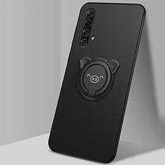 Realme X50 5G用極薄ソフトケース シリコンケース 耐衝撃 全面保護 アンド指輪 マグネット式 バンパー A02 Realme ブラック