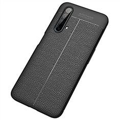 Realme X50 5G用シリコンケース ソフトタッチラバー レザー柄 カバー S04 Realme ブラック