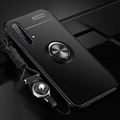 Realme X50 5G用極薄ソフトケース シリコンケース 耐衝撃 全面保護 アンド指輪 マグネット式 バンパー Realme ブラック