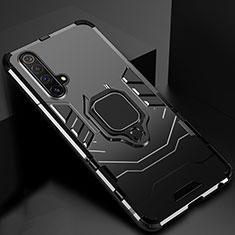 Realme X50 5G用ハイブリットバンパーケース スタンド プラスチック 兼シリコーン カバー マグネット式 Realme ブラック