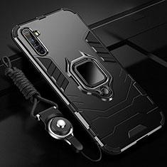Realme X50 Pro 5G用ハイブリットバンパーケース プラスチック アンド指輪 マグネット式 R01 Realme ブラック