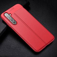Realme X50 Pro 5G用シリコンケース ソフトタッチラバー レザー柄 カバー H01 Realme レッド