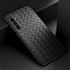 Realme X50 Pro 5G用シリコンケース ソフトタッチラバー レザー柄 カバー Realme ブラック