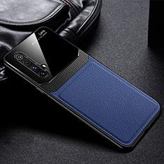 Realme X50m 5G用シリコンケース ソフトタッチラバー レザー柄 カバー Realme ネイビー
