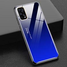 Realme X7 Pro 5G用ハイブリットバンパーケース プラスチック 鏡面 虹 グラデーション 勾配色 カバー Realme ネイビー