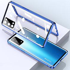 Realme X7 Pro 5G用ケース 高級感 手触り良い アルミメタル 製の金属製 360度 フルカバーバンパー 鏡面 カバー Realme ネイビー