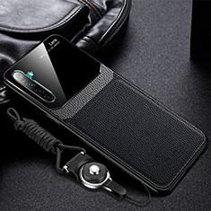 Realme XT用シリコンケース ソフトタッチラバー レザー柄 カバー Realme ブラック