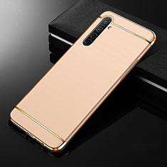 Realme XT用ケース 高級感 手触り良い メタル兼プラスチック バンパー M01 Realme ゴールド