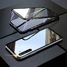 Realme XT用ケース 高級感 手触り良い アルミメタル 製の金属製 360度 フルカバーバンパー 鏡面 カバー M06 Realme ブラック