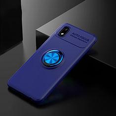 Samsung Galaxy A01 Core用極薄ソフトケース シリコンケース 耐衝撃 全面保護 アンド指輪 マグネット式 バンパー サムスン ネイビー