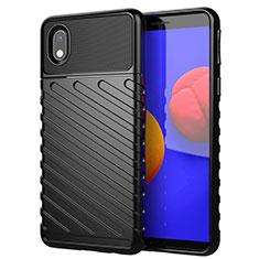 Samsung Galaxy A01 Core用シリコンケース ソフトタッチラバー ツイル カバー サムスン ブラック