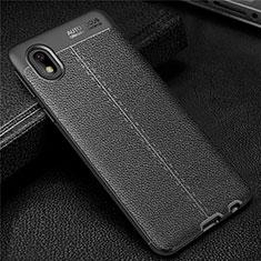 Samsung Galaxy A01 Core用シリコンケース ソフトタッチラバー レザー柄 カバー サムスン ブラック