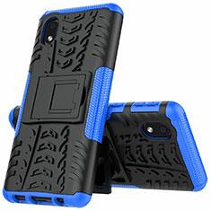 Samsung Galaxy A01 Core用ハイブリットバンパーケース スタンド プラスチック 兼シリコーン カバー A01 サムスン ネイビー