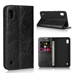 Samsung Galaxy A10用手帳型 レザーケース スタンド カバー サムスン ブラック