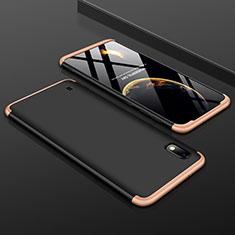 Samsung Galaxy A10用ハードケース プラスチック 質感もマット 前面と背面 360度 フルカバー サムスン ゴールド・ブラック