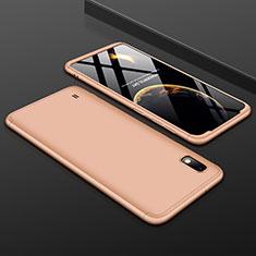 Samsung Galaxy A10用ハードケース プラスチック 質感もマット 前面と背面 360度 フルカバー サムスン ゴールド