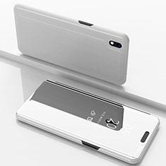 Samsung Galaxy A10用手帳型 レザーケース スタンド 鏡面 カバー サムスン シルバー