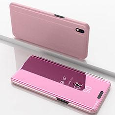 Samsung Galaxy A10用手帳型 レザーケース スタンド 鏡面 カバー サムスン ローズゴールド