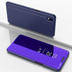 Samsung Galaxy A10用手帳型 レザーケース スタンド 鏡面 カバー サムスン パープル