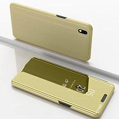 Samsung Galaxy A10用手帳型 レザーケース スタンド 鏡面 カバー サムスン ゴールド
