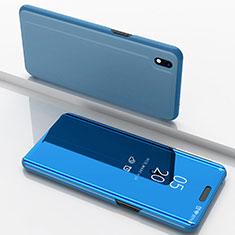Samsung Galaxy A10用手帳型 レザーケース スタンド 鏡面 カバー サムスン ネイビー