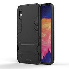 Samsung Galaxy A10用ハイブリットバンパーケース スタンド プラスチック 兼シリコーン カバー サムスン ブラック