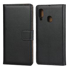 Samsung Galaxy A20e用手帳型 レザーケース スタンド サムスン ブラック