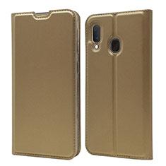 Samsung Galaxy A20e用手帳型 レザーケース スタンド カバー サムスン ゴールド