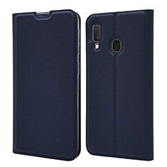 Samsung Galaxy A20e用手帳型 レザーケース スタンド カバー サムスン ネイビー
