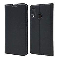 Samsung Galaxy A20e用手帳型 レザーケース スタンド カバー サムスン ブラック