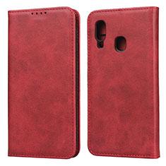 Samsung Galaxy A20e用手帳型 レザーケース スタンド カバー L01 サムスン レッド