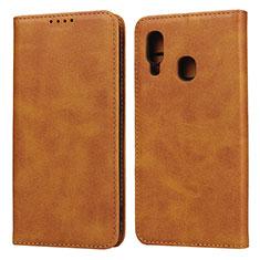 Samsung Galaxy A20e用手帳型 レザーケース スタンド カバー L01 サムスン オレンジ