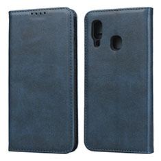 Samsung Galaxy A20e用手帳型 レザーケース スタンド カバー L01 サムスン ネイビー