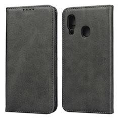 Samsung Galaxy A20e用手帳型 レザーケース スタンド カバー L01 サムスン ブラック