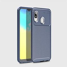 Samsung Galaxy A20e用シリコンケース ソフトタッチラバー ツイル カバー サムスン ネイビー